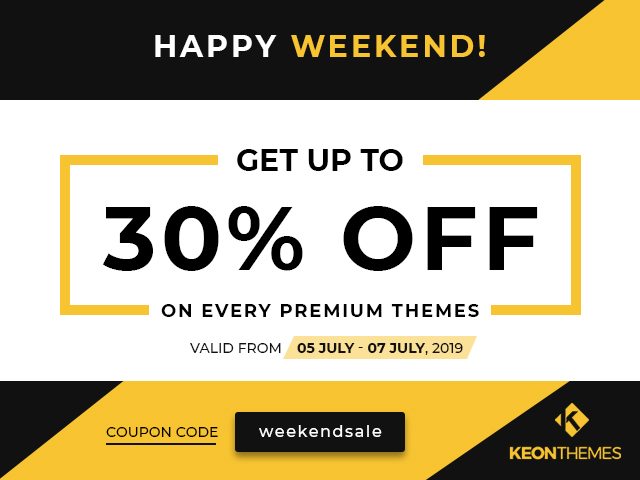 30% Discount on this weekend