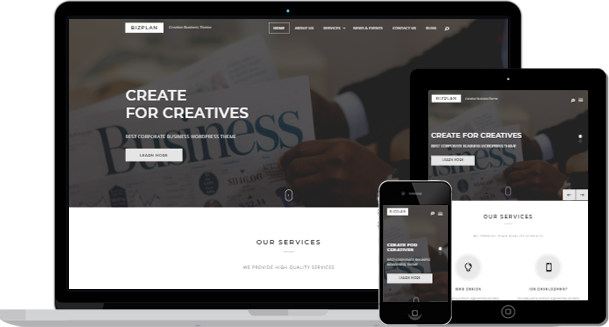 Bizplan free corporate business wordpress theme is released keon bizplan is one of the best free wordpress themes an enticing and visually stimulating tender and polished professional and responsive wordpress creative accmission Choice Image