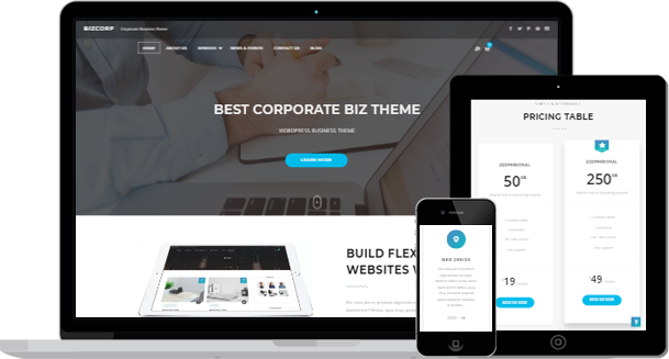 Bizcorp – Free Corporate Business WordPress Theme is Released | Keon ...